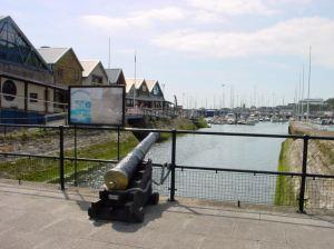 Cannon over looking Wellington Dock, De Bradelei Wharf Car Park. Restored by Richard Mahony