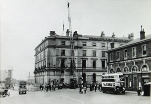 Remains of Town Station 1930s with Lord Warden Hotel behind. Source: Dover Library
