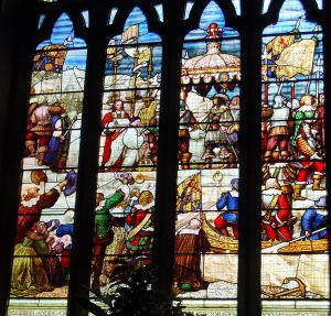 The Restoration: Charles II landing in Dover 25 May 1660. Stone Hall window, Maison Dieu.