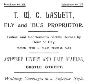 Laslett's livery stable advert 1899