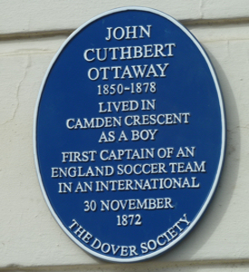 Blue Plaque on Camden Crescent in honour of Cuthbert Ottaway - England's first football captain. March 2018 AS