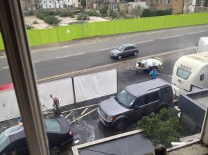 Dover District Council approved Car Wash from lounge window of Grade 2 listed Castle Hill House Sunday 1 November 2014