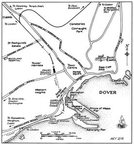 Map of Dover showing the railway line from Crabble to the harbour. Alan Young of disused-stations.org.uk