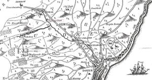 Map of 1789 showing Casney Court - the old name for Kearsney - south of Ewell next to the River Dour