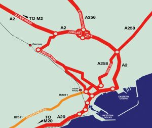 Schematic map of East Kent showing road and rail links to the town and port of Dover. Courtesy of A Friend