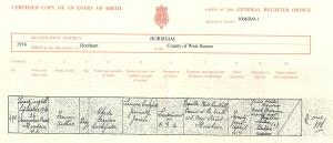 Francis Arthur Cockfield - Birth Certificate.