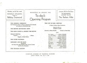Granada Cinema Gala Opening programme - 8 January 1930. Eveline Robinson