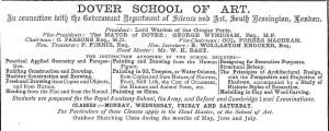 Art School, Northampton Street advert c1892
