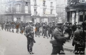 Captured soldiers being marched through Dieppe. Courtesy of Ron Akines