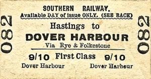Southern Railway Harbour Station Railway ticket. Michael Stewart