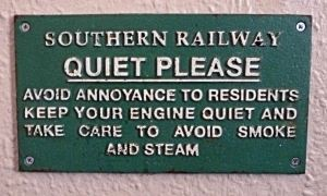 Southern Railway's notice to drivers to keep noise down. Severn Valley Railway