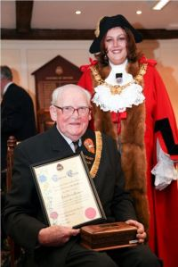 John Turnpenny - Honorary Freeman with Mayor Cllr Sue Jones 2010. Source: Dover Town Council