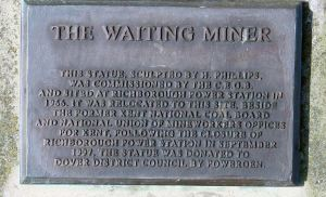 Waiting Miner Statue by H Phillip - details on plaque.