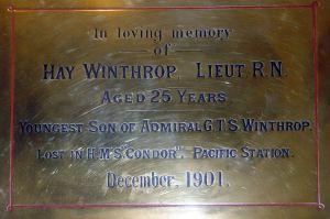Hay Winthrop lost on HMS Condor December 1901. St Marys Church