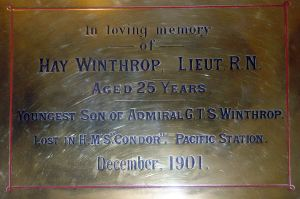 Hay Winthrop lost on HMS Condor December 1901. St Marys Church