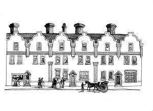 Yorke Family Home re-drawn from an old print by Lynn Candace Sencicle