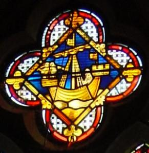 Cinque Ports Ship window, Council Chamber, Maison Dieu.