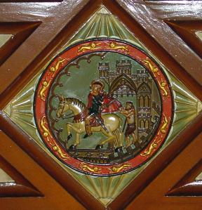 Plaque depicting St Martin, the ceiling of the Court Room, Maison Dieu.