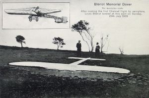 Blériot Monument shortly after it was laid. Dover Library