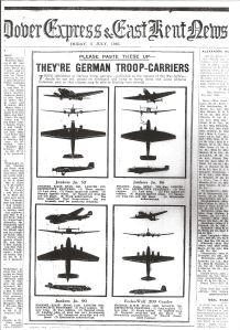 German planes published at the request of the War Office to enable people identify the enemy