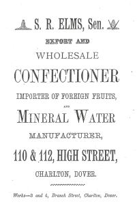 S R Elvey Mineral Water Manufacturers 110-112 High Street &  3-4 Branch Street, Charlton