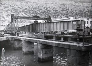 West Bridge - launch of West Girder 9 March 1953. DHB - Lambert Weston