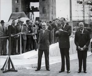 Opening of the Eastern Docks 30 June 1953. The photograph shows the Minster of Transport - Rt. Hon. Alan T Lennox-Boyd, Chairman of Dover Harbour Board - H T Hawksfield and the Register/General Manager of Dover Harbour Board - Cecil Byford. Lambert Weston.