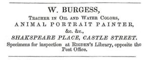 William Burgess - Artist & teacher. Trade Directory 1850