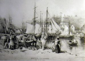 William Burgess - Custom House Quay, Lythograph 1844