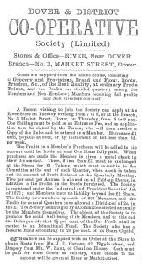 1887 Advert stating Dover & District Co-operative 1887 - Stores and Office River with a branch 3 Market Street.