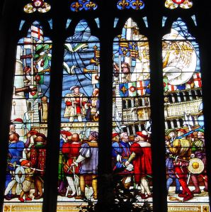 Henry VIII at Dover for the Field of Gold Cloth window in the Stone Hall, Maison Dieu.