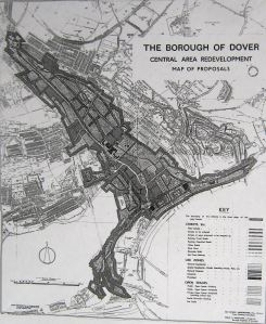 Abercrombie Plan - Planned redevelopment of Dover along the Dour c 1947. Dover Library