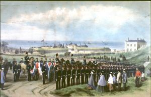 The funeral of Sergeant Monger by William Burgess. Dover Museum