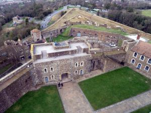 Kings Gate with the North Ramparts behind, from the Keep, Dover Castle