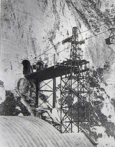 Aerial Ropeway entering the eastern Dockyard through the cliff - the two tunnels can still be seen