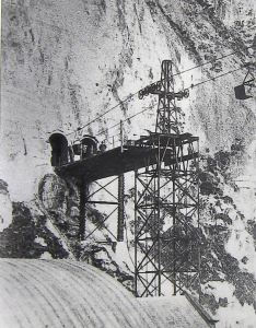 Aerial Ropeway entering and exiting the Eastern Docktard from the cliff face.
