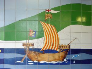 Cinque Ports Ship Townwall Street subway mosaics, note the sweep at the stern quarter. Alan Sencicle 2009