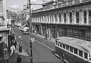 Co-operative, right on Biggin Street 1940 looking north. Ministry of Information