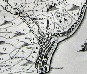 Dover and environs map showing the location of Buckland and Charlton and the course of the River Dour. Hasted 1798