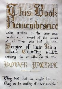 Dover Patrol Book of Remembrance First Page. St Margaret of Antioch Church, St Margarets