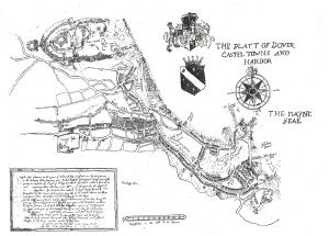 Dover Harbour c1590 on completion of Thomas Digges improvments drawn c1836 by Benjamin Worthington . Dover Library