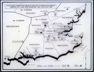 Fighter Command Groups and Sector Boundaries, Airfields & Squadrons 18.08.1940. BofB Memorial, Capel.