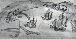 Harbour c1543 showing the Harbour works. Cottonian Manuscript. Bob Hollingsbee