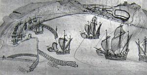 Dover Harbour c1543 - Cottonian Manuscript. Bob Hollingsbee Collection Dover Museum