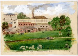 The former Lower Buckland paper mill after conversion into a brewery in 1846. Painted from a drawing of 1862 by James Tucker c1910. Dover Museum