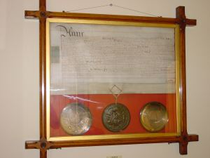 Letter's Patent in Maison Dieu House, issued by Queen Anne (1702-1717) that sanctioned the creation of the Bason - later Granville Dock and the Tidal harbour. Dover Town Council.
