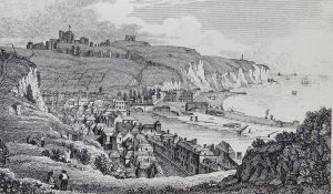 Pier District and Dover from Western Heights. Drawing by T S Cooper c 1820