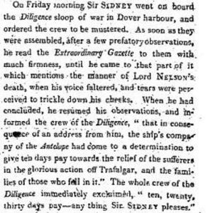 Sir Sidney Smith's tribute to Horatio Nelson, Times 11 November 1805