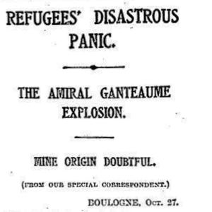 The sinking of the Amiral Ganteaume - Times headline 28 October 1914