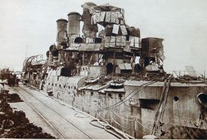 Vindictive on her return to Dover following Zeebrugge Raid. Doyle collection